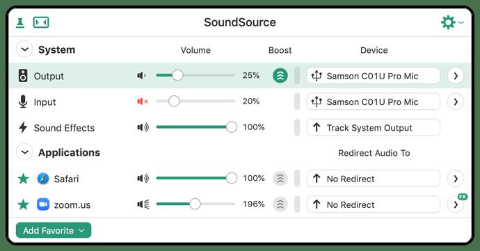 SoundSource Input 20 percent Muted