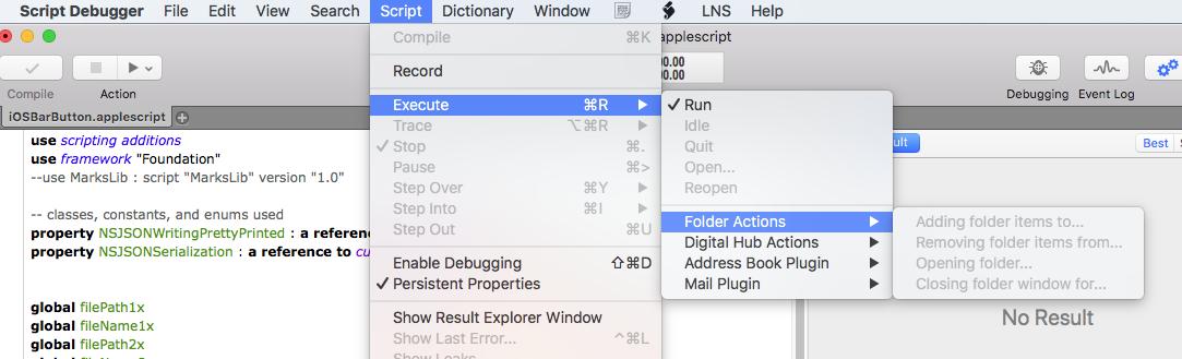 Debugging prevents Folder Actions triggering - AppleScript - Late